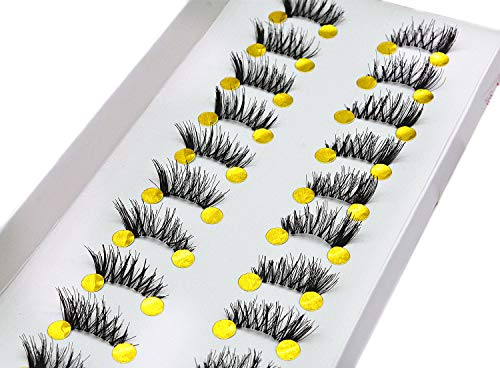 10 Pairs Half False Eyelashes LASGOOS Design Natural Corner Cross Fake Daily Lashes Wholesale Mini Strip Lashes Bulk for Eye Makeup Pack (317)