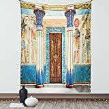 Ambesonne Egyptian Print Tapestry, Egyptian Writing on Stone Antique Old Indigenous Civilization, Wall Hanging for Bedroom Living Room Dorm Decor, 60' X 80', Beige Brown