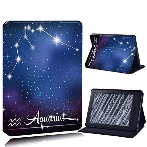 BYLLZZ Funda para Kindle For Amazon Kindle 8Th 10Th Paperwhite 1/2/3/4 Printed Leather Reader Stand Folio Cover-Ultra-Thin Star Tablet Stand Case,Aquarius,Kindle 8Th Gen 2016