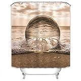 Xlabor Strand Duschvorhang 240x200cm Wasserdicht Stoff Anti-Schimmel inkl. 12 Duschvorhangringe Waschbar Badewannevorhang 240x200cm Motiv-G