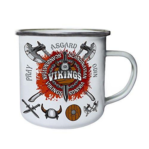 Vikingos escandinavos con espada Retro, lata, taza del esmalte 10oz/280ml w763e