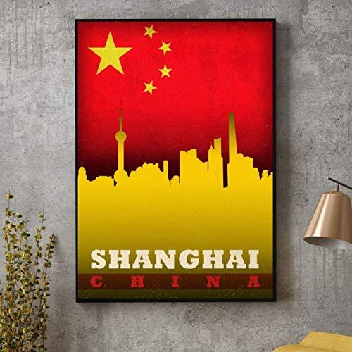 QINGRENJIE Wandkunst Bild Peking Shanghai China Taipeh Taiwan Hong Kong City Skyline Auf Flagge Poster Leinwand Kunstdruck Wohnkultur 40X60Cm Ohne Rahmen