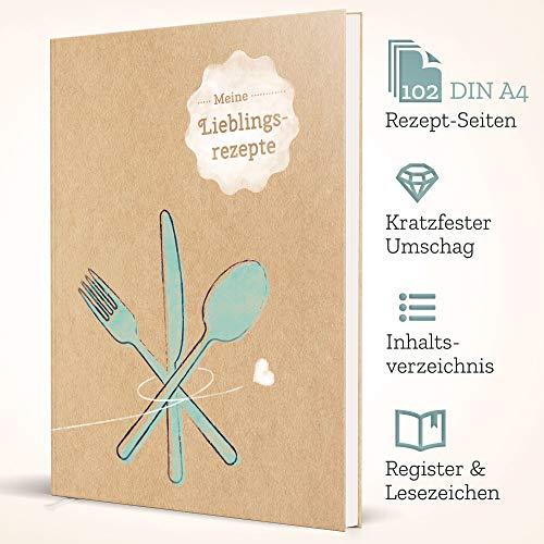 Großes XXL Rezeptbuch zum selberschreiben - DIN A4-102 individuellen Rezeptseiten im DIY Kochbuch zum ausfüllen: Kratzfestes Hardcover mit Inhaltsverzeichnis, Register und Lesezeichen