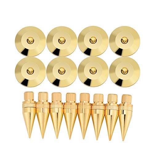 Tihebeyan Spike Pad Kit, 8 x 36 mm koperluidspreker spike isolatie stand met basis Pad Feet Mat luidspreker, versterker, CD-speler