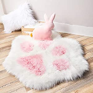 Ashler Soft Fluffy Faux Fur Area Rug Cat Paw Faux Sheepskin Fuzzy Kids Rug 2.8 X 3.2 Feet Light Pink Indoor Decorative Rugs