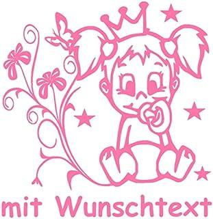 Hoffis Premium Babyaufkleber mit Name/Wunschtext Baby Kinder Autoaufkleber   Motiv 1307 (16 cm)   Farbe und Schriftart wählbar