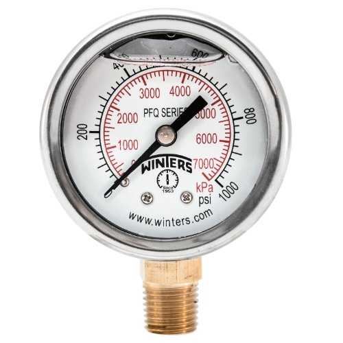 """Winters PFQ Series Stainless Steel 304 Dual Scale Liquid Filled Pressure Gauge with Brass Internals, 0-1000 psi/kpa, 2"""" Dial Display, +/-2.5% Accuracy, 1/4"""" NPT Bottom Mount"""