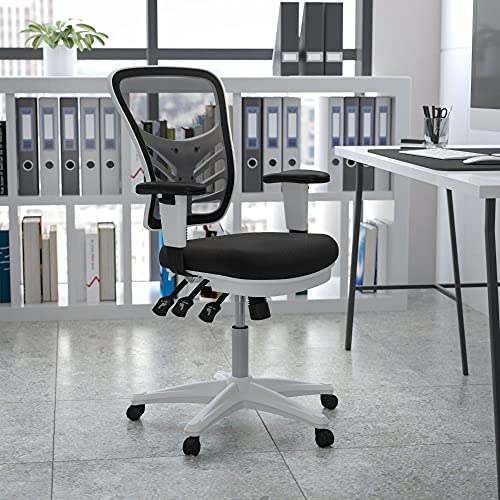 Flash Furniture Mid-Back Black Mesh Multifunction Executive Swivel Ergonomic Office Chair with Adjustable Arms and White Frame