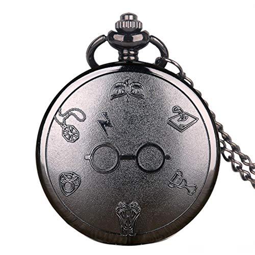 WASZJ Reloj de Bolsillo Negro Números árabes Reloj de Cuarzo de Lujo de Acero Inoxidable con Cadena para Hombres y Mujeres