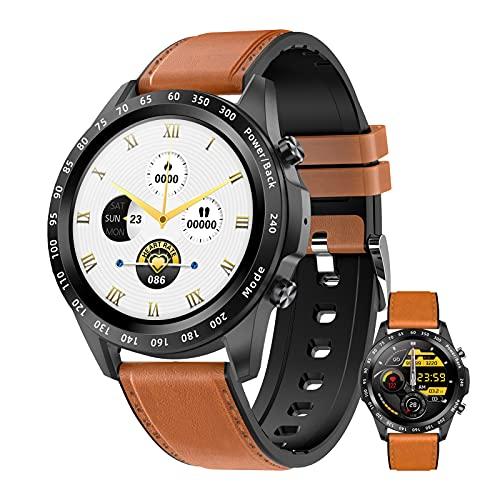 HQPCAHL Smartwatch Responder Llamadas,1,3''Bluetooth Reloj Inteligente Mujer Redondo, Monitor De Sueño De Pasos Calorías Rastreador De Salud para Android iOS,D