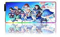 ゲーミングマウスパッドセーラームーンアニメガールRGBゲーミングラージマウスパッドゲーマー主導コンピュータービッグマウスマットバックライトカーペットキーボードデスクマット(B)-1000x500x4 mm