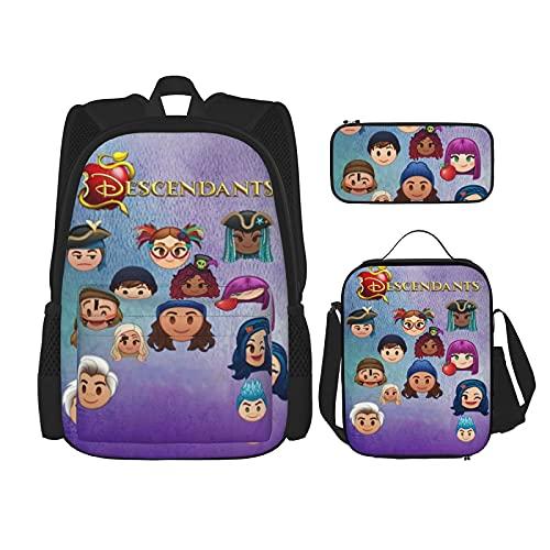 Des-Cen-Dants Zaino Set 3 Pezzi Bookbag Lunch Bag & Astuccio Doppio Spalle Daypack Per Ragazzo Gril