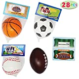 JOYIN 28 Pack Kids Valentines Day Gift Cards with Gift Mini Sports Ball Figure Stress Balls Squeeze Foam Balls Includes Football, Soccer, Basketball, and Baseball for Classroom Exchange Prizes, Stress Relief / Anxiety Relief, Valentine Party Favor Toys
