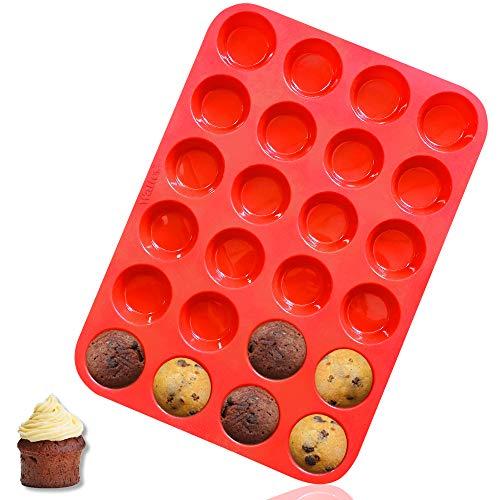Walfos Mini Molde de Horno para Muffin Silicona - Mini 24 Cavidades Antiadherente Bandejas para hornear magdalenas para Muffins, Cupcake, Brownie, Budín