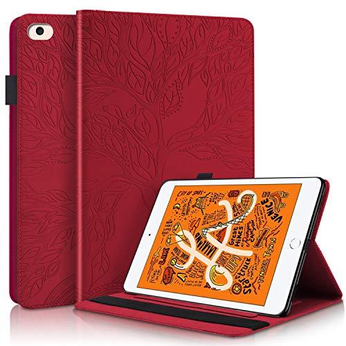 YKTO Funda Protectora de Cuero con Case Inteligente para Tableta de PU con Soporte, Portalápices, Ranuras para Tarjetas de Billetera para Despertador/Sueño Auto para iPad Mini 1/2/3/4/5- Rojo