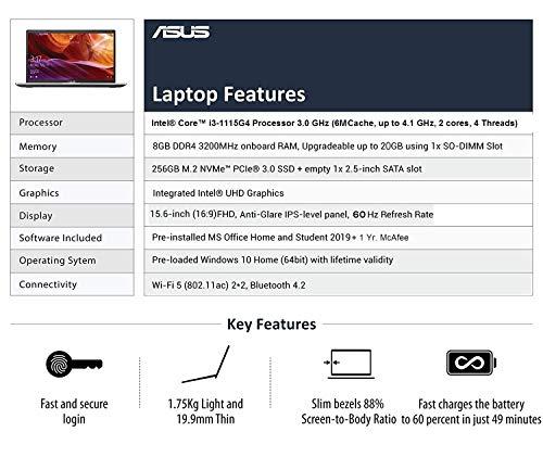 ASUS VivoBook15 Intel Core i3-1115G4 (8GB RAM/256 GB NVMe SSD/Win10+McAfee/Ms Office H&S 2019/15.6-inch FHD IPS/FP Reader/1.75 kg/Silver/1 Yr. Warranty) X515EA-EJ312TS