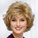 Mid Length Color Me Beautiful WhisperLite Wig by Paula Young - Beautiful Mid-Length, Layered Waves with Elegant, Wispy Bangs/Multi-tonal Shades of Blonde, Silver, Brown, and Red