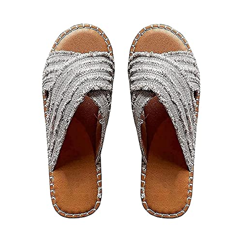 XTONG Women Flat-Bottomed Straw Cross Fisherman Shoes ,Bohemia Outer Wear Sandals And Slippers 36 gray