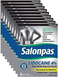 Salonpas 4% LIDOCAINE Patches (9 Pack Bundle) Pain Relieving Maximum Strength Lidocaine Gel Patches!