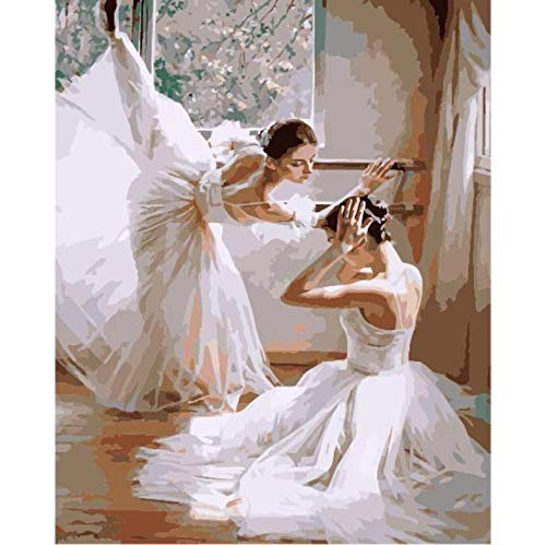 Pintura Diamante Bricolaje Fotos Ballet Girl Kits Dibujo Lienzo Pintado a mano Mosaico Pintura Bailarina Figura Decoración para el hogar A13 40 x 50cm