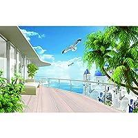 写真壁紙3d効果パノラマ壁画海景自然リビングルーム子供寝室家の装飾壁ポスター-自己接着性の不織布_400x280cm-8パーツ