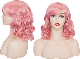 Hairro 14 Inch Wavy Bob Cosplay Wig with Bangs for Women Synthetic Hair Short Shoulder Length Curly Heat-resistant Flapper Colorful Bob Wigs with Blunt Cut Hair Fringe for Party Daily Use Pink