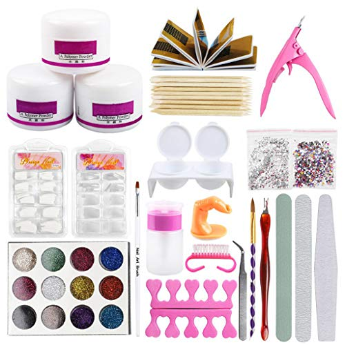 QueenMM 43 in 1 Nail Art Set Acrylic Powder Liquid Brush Glitter Clipper Nail Art Tools Kit Tools Professional Manicure Set White