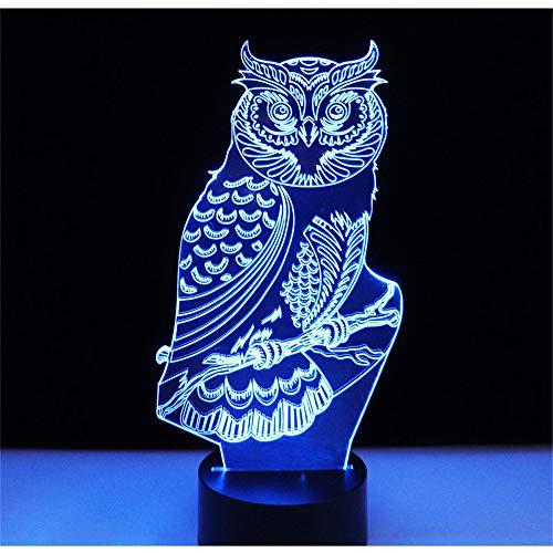 Lampe de lumière 3D Night Illusion, hibou spirituel avec 7 couleurs de lumière pour la décoration de la maison A, lampe visuelleoptique