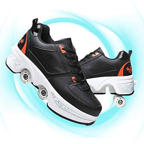 Ruedas Ajustables Aire Libre Y Deporte Gimnasia Zapatillas Zapatos Ruedas Deformación Uso 2 En 1 Patines Botas Patines De Ruedas De Doble Uso,Black Orange,36