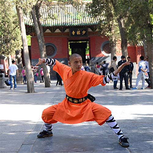 FJJLOVE Kinder Kung Fu Uniform, Chinesische Traditionelle Tai Chi Wushu Kleidung Kinder Kampfsport Performance-Kostüm Shaolin Taekwondo Training Bekleidung,Orange,S