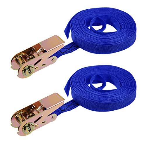 sourcing map 2stk. Ratsche Festbinden Verzurrgurt Frachtband 250Kg Arbeitslast, Blau 9M x 25mm