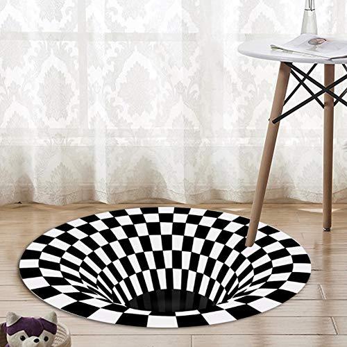 Forwei Runder Teppich, 3D-Wirbel-Druck Optischer Täuschungsteppich Teppich, Mandala-Teppich Dreidimensionaler Schwarzweiß-Stereo-Sichtmatte Wohnzimmer Fußmatte Teetisch Sofa Illusionsteppich