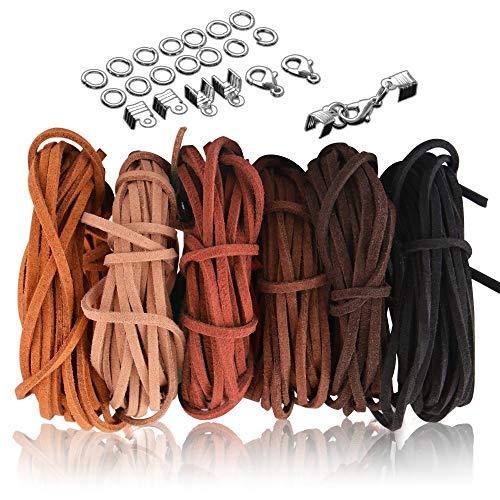 SOSMAR - Cordones de piel para bisutería, 6 piezas de cuerda de cuero de 3 mm x 5 m, cordón de gamuza para hacer pulseras, atrapasueños en el hogar, manualidades con 100 extremos de cordón