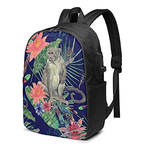 XCNGG Mochila para portátil, Mochila Ligera de Viaje de 17 Pulgadas con Puerto de Carga USB Cute Monkey Peacock