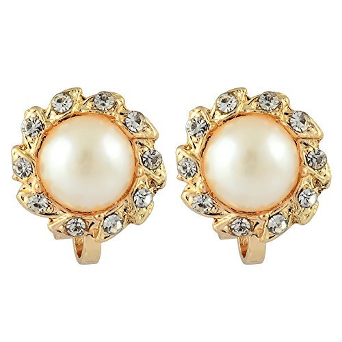 RIZILIA Sun Clip on Earrings with Round Cut Rhinestone Crystal [Cream Ivory Pearl] in 18K Yellow Gold Plated, Simple Modern Elegance