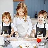 2 Stück Kinder Schürzen Set mit Taschen, Verstellbare Kleinkind Kochschürze, Jungen Mädchen Malschürze Kinder Verstellbare Kochschürze für Basteln Malen Backen Kochen (schwarz, grau7-13 Jahre) - 6