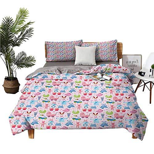 Juego de 4 sábanas bajeras de tamaño individual para cama de peluche, juguetes infantiles, conejo, conejo, cumpleaños, niñas, diseño alegre pálido, rosa, azul, fibra...