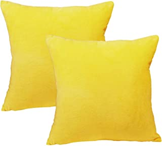 sykting Decorative Pillow Covers Solid Super Soft Short Plush Fuzzy Throw Pillow Covers for Bed Couch Chair Pack of 2 Square 18x18 inch 45x45cm Yellow