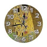 掛け時計 壁掛け時計 グスタフ・クリムト 接吻 1907-1908年 おしゃれ 耐久性 連続秒針 静音フレームレス 二重使用 書斎 部屋の装飾 ホーム キッチン 直径約25cm