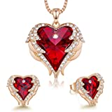 CDE Angel Wing Heart Necklaces and Earrings Mother's Day Jewelry Gifts for Women White Gold Plated Jewelry Set for Mom Stepmom(R_Rose Gold Plated   red)