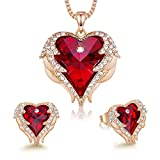 CDE Angel Wing Heart Necklaces and Earrings Valentines Day Jewelry Gifts for Women 18K White Gold Plated Jewelry Set for Mom (R_Rose Gold Plated | red)