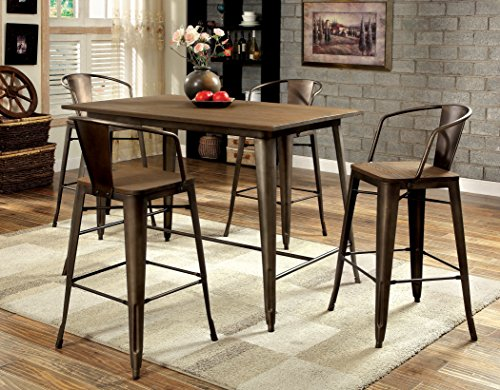 Furniture of America Cadiz 5-Piece Industrial Pub Dining Set