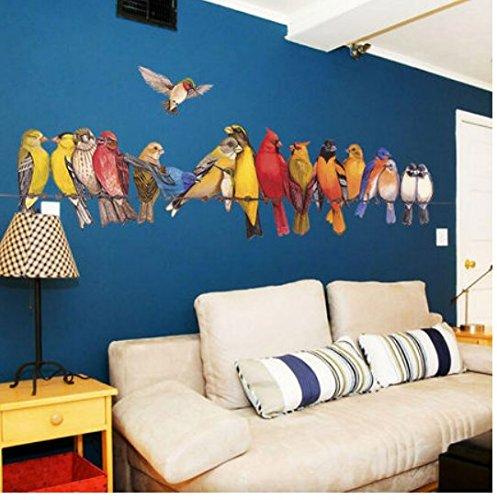 Pegatina pared vinilo pajaros de ideales colores paredes cristal para salones, cabecero de cama, loft, aticos, escaparates, tiendas animales, locales, clinicas. NOVEDAD 2018 1.50 x 80 cm de CHIPYHOME