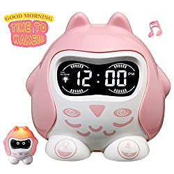 Kids Alarm Clock for Girls Bedrooms Toddler, Children's Sleep Trainer, Night Light Sleep Sounds Machine with Wake Up Light, 9 Ringtones, Battery Operated and Snooze