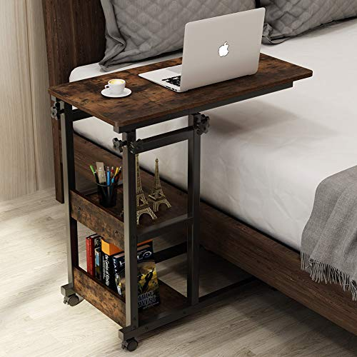 Tribesigns Snack Side Table, Mobile End Table Height Adjustable Bedside Table Laptop Rolling Cart C Shaped TV Tray with Storage Shelves for Sofa Couch (Retro Brown)