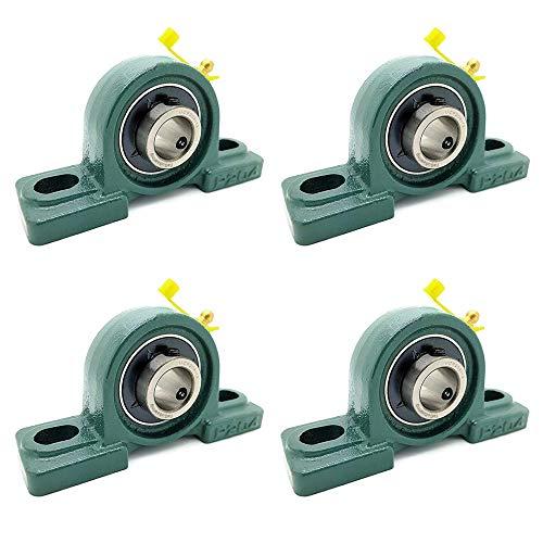 "Cast Iron Pillow Block Mounted Bearings - 3/4"" inch Inside Diameter w/Set Screw Lock 4psc of ucp204-12"