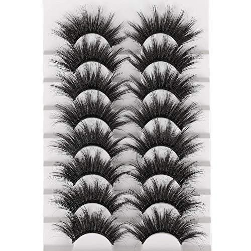 25mm False Eyelashes Dramatic Long Eyelashes 8 Pairs Fluffy Thick Crossed Fake Eyelashes Soft Handmade Reusable Eye Lashes Pack by Eefofnn