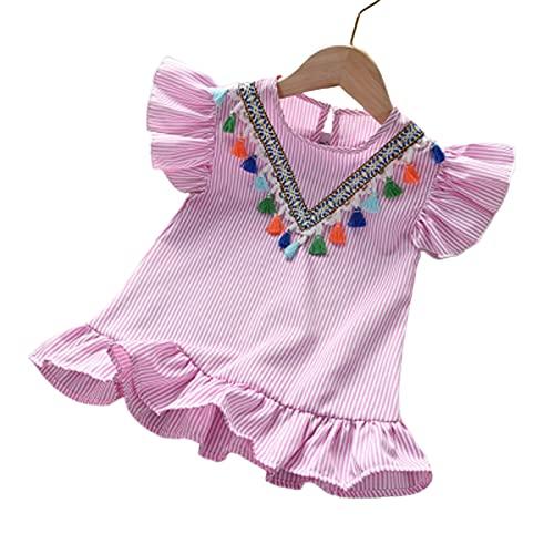 CJFael Ropa de verano para niñas de manga corta, vestido de niña con borla transpirable, ropa de verano para fiesta de niños, lindo vestido de volantes, para salir de color rosa de 110 cm