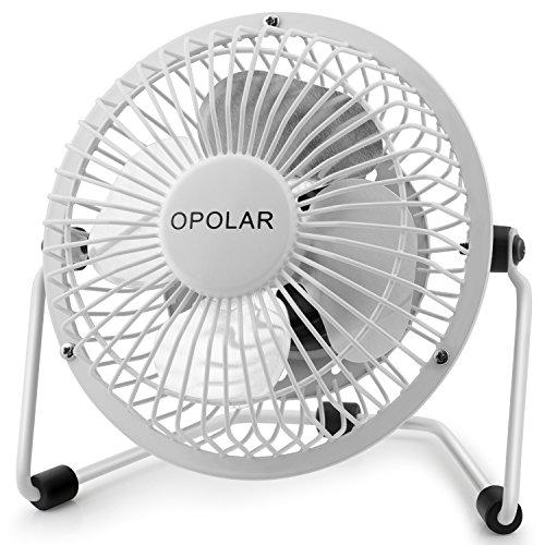 OPOLAR Mini USB Desk Fan, Portable Super Quiet, Metal Design, 4 Inch Cooling Fan for Home, Office, White