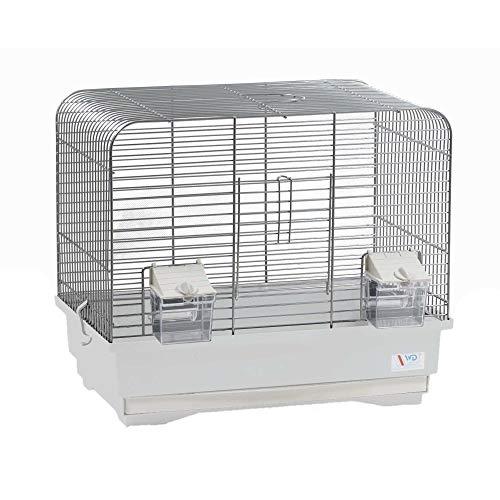 decorwelt Vogelkäfige XL Weiß Außenmaße 40x25,5x34,5 cm Urlaub Reisekäfig Zubehör Wellensittich Futternapf Kanarienkäfig Plastik Vogel Modell KS7